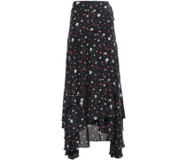 Floral-print Silk Crepe De Chine Midi Wrap Skirt Black