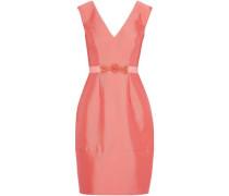 Grosgrain-trimmed embellished satin-twill dress