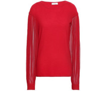 Paneled Cashmere And Silk-tulle Sweater Red