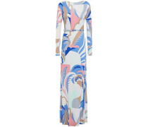 Woman Belted Printed Jersey Maxi Dress Blue