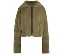 Hooded twill-trimmed cotton-jersey jacket