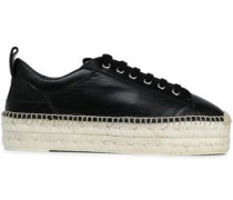 Leather Platform Espadrille Sneakers Black