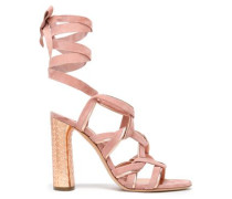 Metallic-trimmed suede sandals