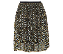 Chain-trimmed fringed metallic fil coupé organza mini skirt