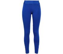Mesh-trimmed Cotton-blend Jersey Leggings Royal Blue