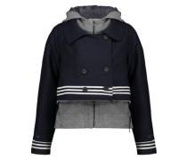 Cotton-jersey layered frayed wool-blend felt jacket