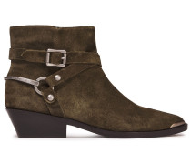 Jade Buckled Suede Ankle Boots