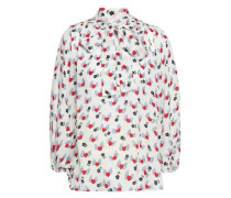 Pussy-bow Printed Silk Crepe De Chine Blouse Ivory Size 12