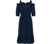 Abril Cold-shoulder Ruffle-trimmed Voile Dress Navy