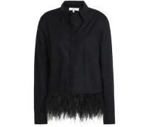 Feather-trimmed cotton-poplin shirt