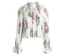 Ruffle-trimmed printed plissé crepe de chine blouse