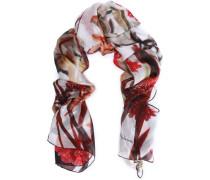 Floral-print silk-organza scarf