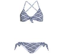 Ensley Knotted Printed Bikini Blue