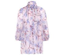 Tie-neck Floral-print Silk-georgette Blouse Pastel Pink Size 0