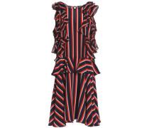 Ruffled striped silk-crepe dress