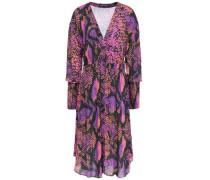 Gathered Snake-print Gauze Dress Violet