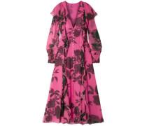 Ruffled Floral-print Silk-chiffon Midi Dress Pink