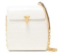 Woman Po Box Croc-effect Leather Shoulder Bag White