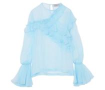 Marika Ruffled Silk-chiffon Blouse Light Blue