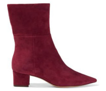 Stretch-suede Sock Boots Crimson