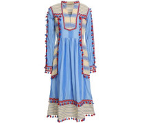 Stephanie Embroidered Striped Cotton-gauze Midi Dress Light Blue