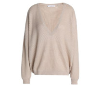 Sequin-embellished ribbed-knit sweater