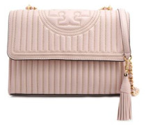 Woman Tasseled Beaded Quilted Leather Shoulder Bag Baby Pink