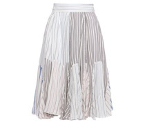 Woman Pleated Striped Cotton-jacquard Skirt Baby Pink