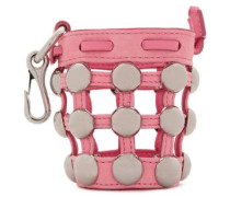 Studded leather and suede keychain