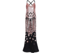 Starlet Open-back Sequined Embroidered Georgette Gown Black