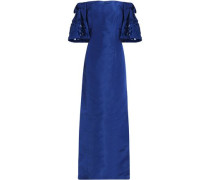 Off-the-shoulder silk gown