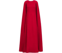 Cape-effect Silk-crepe Gown Claret