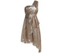 One-shoulder asymmetric pleated silk-blend lamé dress