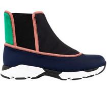Color-block Neoprene High-top Sneakers Navy