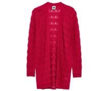 Crochet-knit Wool-blend Cardigan Magenta
