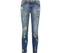 The Stiletto Distressed Mid-rise Skinny Jeans Mid Denim  7