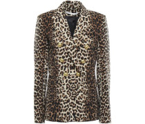 Double-breasted Leopard-print Stretch-crepe Blazer Animal Print