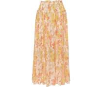Primrose Shirred Floral-print Cotton And Silk-blend Midi Skirt Marigold Size 0