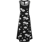 Metallic Floral-jacquard Midi Dress Black