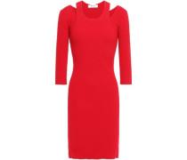 Cutout Ribbed-knit Mini Dress Red