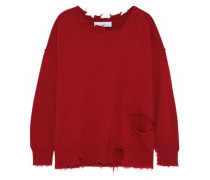 Nosasa Distressed Cotton And Cashmere-blend Sweater Crimson