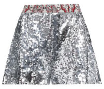 Printed-trimmed Sequined Crepe Shorts Silver