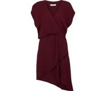 Tralor Wrap-effect Cutout Crepe Mini Dress Burgundy