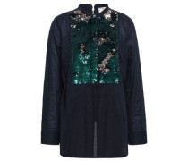 Sequin-embellished Cotton-mousseline Top Midnight Blue