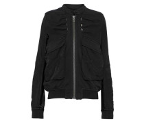 Satin-paneled cotton-jersey jacket