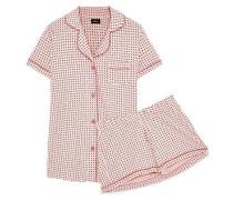 Bella Printed Pima Cotton And Modal-blend Pajama Set Peach