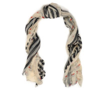 Frayed printed cashmere scarf