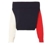 Off-the-shoulder color-block cotton sweater