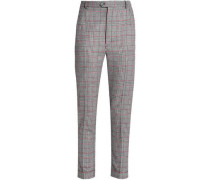 Cropped Prince of Wales woven tapered pants
