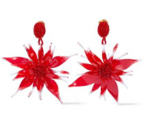 Bead And Resin Clip Earrings Red Size --
